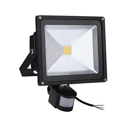 SAILUN 50W LED SMD Strahler Fluter Außen Flutlicht Strahler mit PIR Bewegungsmelder Fluter Wasserdicht IP65 Aluminiumkörper Schwarz Kaltweiß -