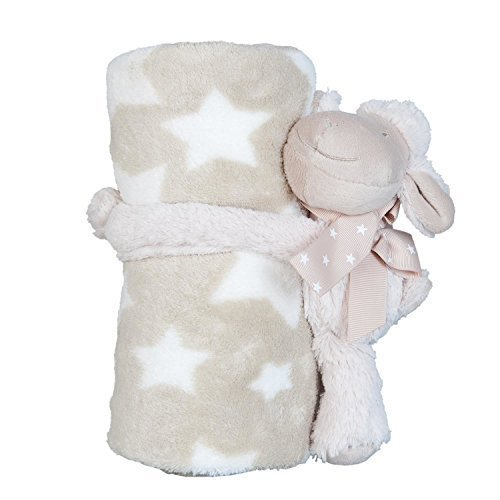 present Baby Shower party Infant Stars pecora di peluche coperta in pelliccia sintetica, crema, beige, 77x 102cm