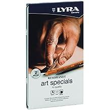 Lyra Rembrandt Art Specials - Estuche metálico 12 lápices artísticos surtidos, desde sepia, carboncillo, grafito, tiza blanca