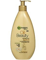 Garnier Oil Beauty Nährende Öl Milch / Körper Öl mit 4 wertvollen Ölen: Argan, Macadamia, Mandel, Rose (für trockene Haut- fettet nicht, klebt nicht) 1er Pack - 400ml