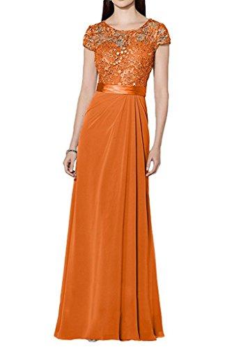 La_Marie Braut Blau Damen Spitze Kurzarm Abendkleider Ballkleider Brautmutterkleider Chiffon langes Rock Orange