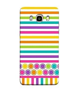 PrintVisa Designer Back Case Cover for Samsung Galaxy J7 (6) 2016 :: Samsung Galaxy J7 2016 Duos :: Samsung Galaxy J7 2016 J710F J710Fn J710M J710H (Colourful Circle Dot Pink Bindi Strip Purple)