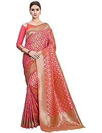 Soru Fashion Women's Pure Banarasi Art Silk Light Pink Saree with Blouse Piece (Cott-783_Light Pink)