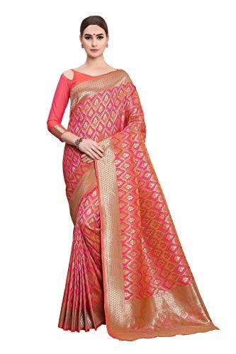 Soru Fashion Women\'s Pure Banarasi Art Silk Light Pink Saree with Blouse Piece (Cott-783_Light Pink)