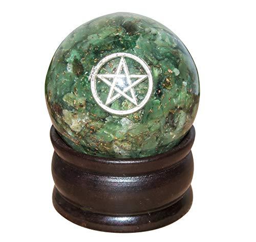 FASHIONZAADI Orgonkugel mit Pentagramm, grüner Aventurin, Größe 50-55 mm, zur Heilung von Aura zur Reinigung von Vastu Peace of Mind Chakra Balancing