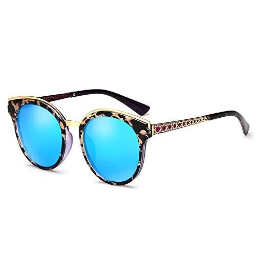 Thirteen Bunte Polarisierte Sonnenbrille Weibliches Rundes Gesicht Großer Rahmen Anti-UV-Sonnenschutz Fahrspiegel, Kann Für Dekorative Reisen Verwendet Werden. (Color : Blue)