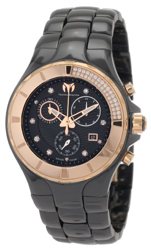 TechnoMarine Women's 110032C Cruise Ceramic Chronograph Diamond Gold-Tone Bezel Black Watch