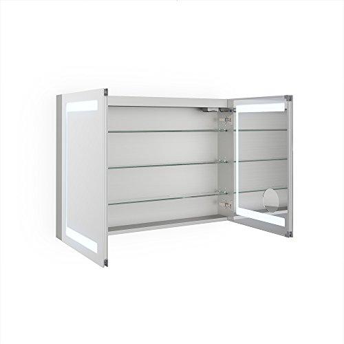Bad Schrank – Spiegelschrank Aluminium 100 cm - 2