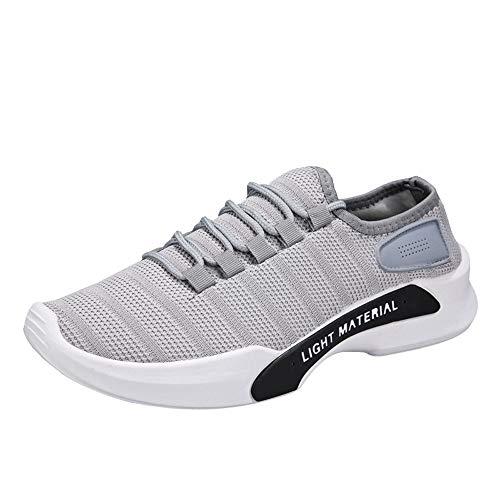 Chaussures de Sport Hommes Maille Respirant Bout Rond Espadrilles à Lacets Chaussures de Course Chaussures de Sport Taille 39~44
