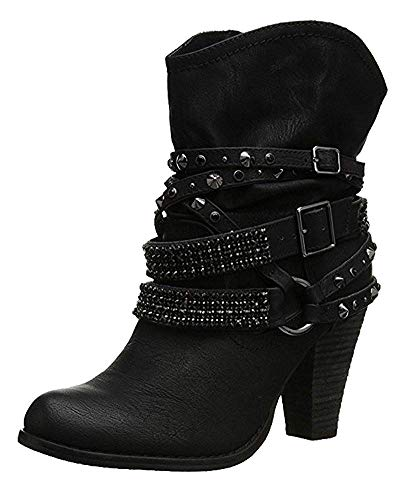 Damen Mode Elegante Winterschuhe High Heels mit Warm Gefüttert Plüsch Anti Rutsch Sohle Stiefeletten Stiefel Niet Kurzschaft Boots (EU 39, Schwarz)