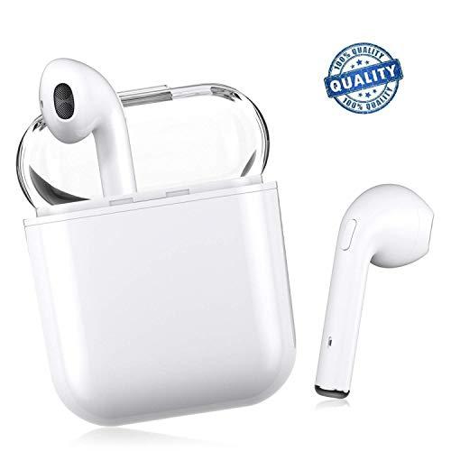 Auricolare bluetooth 5.0, auricolare wireless, microfono e scatola di ricarica incorporati incorporati, riduzione del rumore stereo 3d hd, per cuffie apple airpods android / iphone / samsung