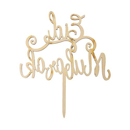Wanfor Holz Eid Mubarak Ramadan Hochzeitstorte Topper Muslim Islam Hadsch Dekoration Handwerk, Küche ()
