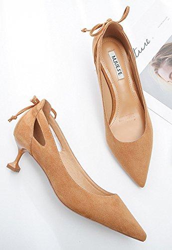 Aisun Femme Elégant Kitten-Heel Bride Cheville Style Escarpins Jaune