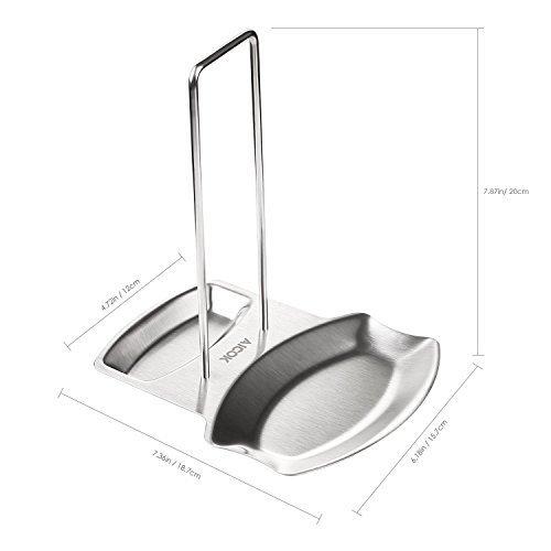 Aicok Soporte de la Tapa de Olla y Cuchara  Soporte Multifuncional de la Tapa de Olla y la Cuchara de Acero Inoxidable Grueso