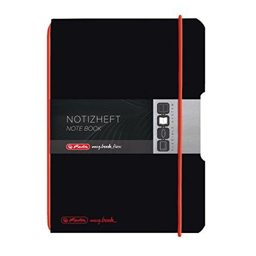 Herlitz 11361557 Notizheft My Book flex A5, 40 Blatt kariert, schwarz