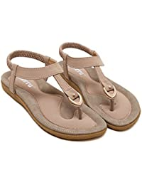 495f54329dd94 Yuan Ladies Women Bohe Fashion Flat Large Size Casual Sandals Beach Shoes  Pink Blue