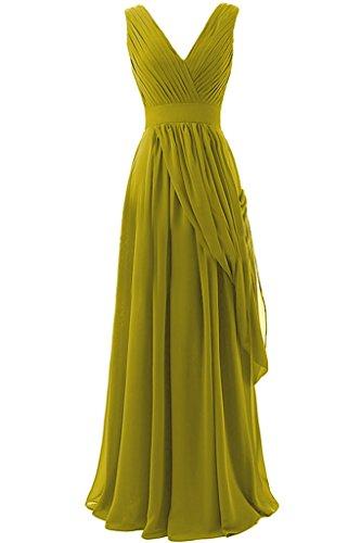 Sunvary A-line in Chiffon, lunga, scollo A V, quando viene piegato Evening Dresses Homecoming Gowns Verde oliva