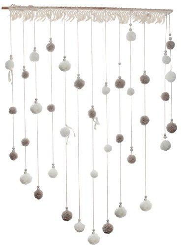 Pom Pom-Vorhang / Woll-Girlande woll-weiß & taupe / Hänge-Girlande Pom-Poms- Hochzeits-Deko / Party-Dekoration / Girlande / Fransen-Vorhang / Feier / Geburtstags-Deko- Maße ca.70 cm x 95 cm