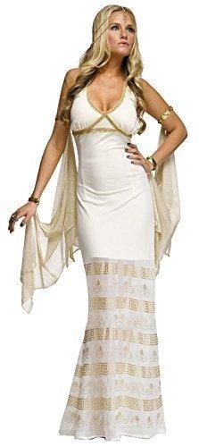 Damen Sexy Lang Griechische Römische Göttin Aphrodite Venus Kostüm Kleid Outfit - Creme, Creme, (Griechische Outfits Göttin)