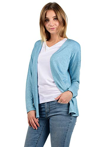 VERO MODA Cara Damen Strickjacke Feinstrick Cardigan Strickcardigan Mit Offenem Ausschnitt, Größe:XL, Farbe:Cool Blue
