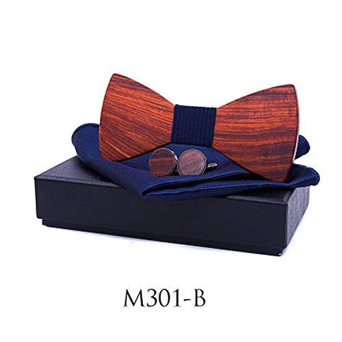 Rote Sandale Fliege Anzug Herren Einstecktuch Manschettenknöpfe Set Holz Fliege Gentleman Mode-Accessoire (Farbe : B) ()