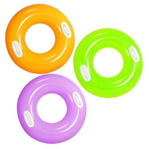 COM-FOUR® 3x Schwimmreifen, Schwimmring in knalligen Farben, mit Griffen, Ø 75,5cm (Monster Truck Schwimmen)