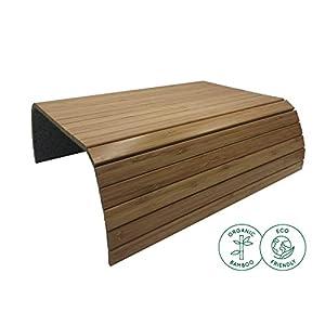 BamBooBox Sofatablett/Sofaablage aus Bambus für Getränke, Snacks etc. – Armlehnen Ablage aus Massivholz