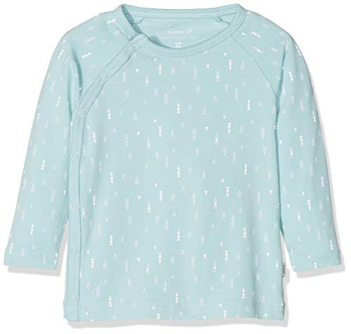 NAME IT Unisex Baby NBNDELUCIOUS LS WRAP TOP NOOS T-Shirt, Blau (Canal Blue), 68 -