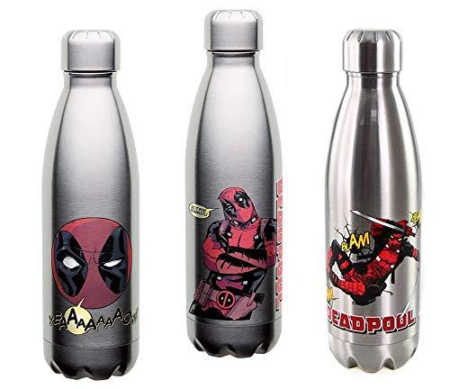 Zak Designs [3-Pack Marvel Comics Deadpool 17oz Stainless Steel Insulated Water Bottles