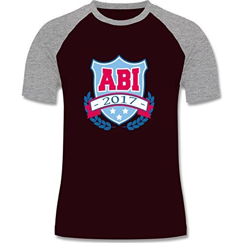 Abi & Abschluss - ABI 2017 Badge - zweifarbiges Baseballshirt für Männer Burgundrot/Grau meliert
