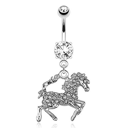 Cavallo, colore: trasparente cristallo Gioiello per ombelico, 14G