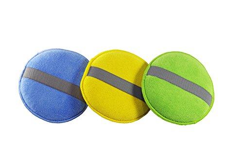 glart 43PP runde Microfaserpads Polierschwämme mit Gummiband im 3er Set: blau, grün, orange-gelb