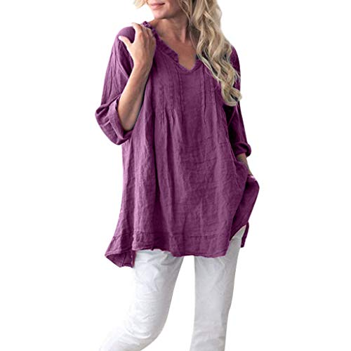 745230a42905 Topassion Women's Top Cotton Loose Casual Solid Long Sleeve Blouse V-Neck  Ruffled Pleats Pullover Tops Cotton Linen Tunic Tee Shirt Tops Lady Pure ...