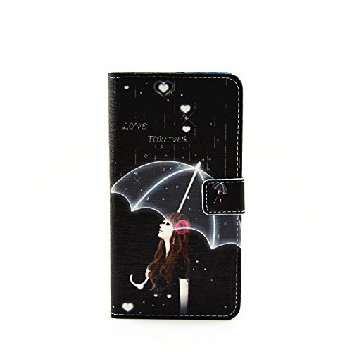 Coque pour Apple iPhone 6S/ 6 4.7 Zoll ,Housse en cuir pour Apple iPhone 6S/ 6 4.7 Zoll ,Ecoway Colorful imprimé étui en cuir PU Cuir Flip Magnétique Portefeuille Etui Housse de Protection Coque Étui  Parapluie Fille
