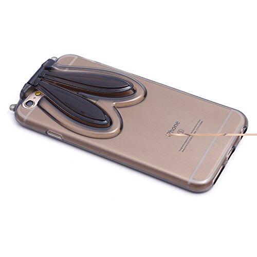 "iProtect TPU Schutzhülle Apple iPhone 6 6s (4,7"") Bunny Soft Case - flexible Hülle in transparent rosa mit Hasenohren Bunny-Case schwarz"