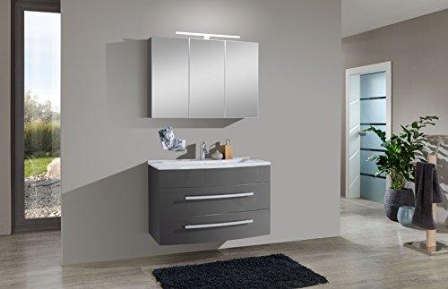 SAM Badmöbel-Set 2-tlg, Genf, hochglanz grau, Softclose Badezimmermöbel, Waschplatz 90 cm Mineralgussbecken, Spiegelschrank