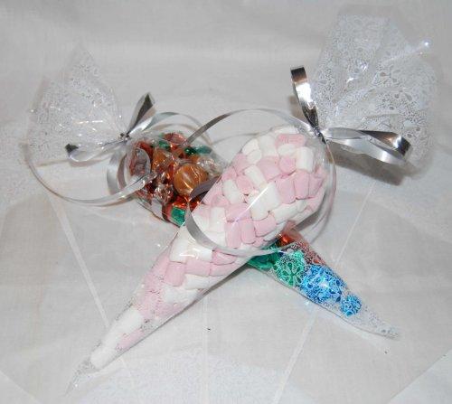 Partybeutel, Zellophan, 36,38x17,78cm, transparent / weißgemustert, 100 Stück