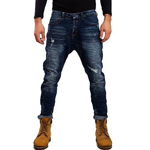 d72a9d871574 Toocool - Jeans Uomo Pantaloni Cavallo Basso Harem Denim Casual Vari  Modelli Gen-1 [