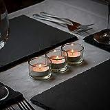 Set von 12 Kreis Teelicht Kerzenhalter | Ideal für Hochzeiten, Inneneinrichtungen, Partys, Tischdekoration und Geschenke Luxus Klarglas | Modernes Design | M&W - 2