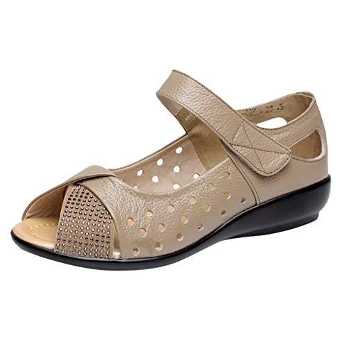 Damen Damen Peep Toe Sandalen Sommer Ausgeschnittene Schuhe Lässige Ballerinas Slip On Schuhe Gestanzte Open Toe Wedge Komfortarbeit Mary Jane Schuhe Strass Atmungsaktive Schuhe (Vans Mary Janes)
