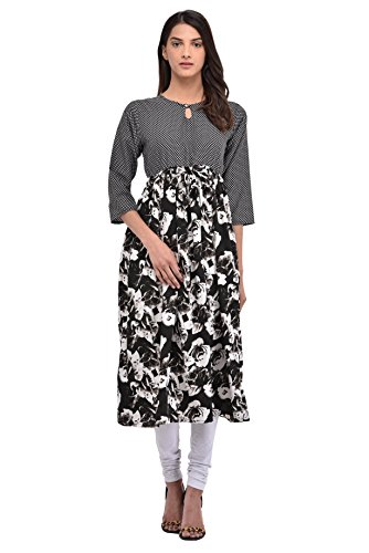 Kiara Women's Cotton Fashionable Black & White Printed Stitched Anarkali Kurta Kurti (Medium)  available at amazon for Rs.359