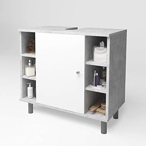 Oskar Vicco Meuble de lavabo Fynn Meuble de Salle de Bain béton Blanc