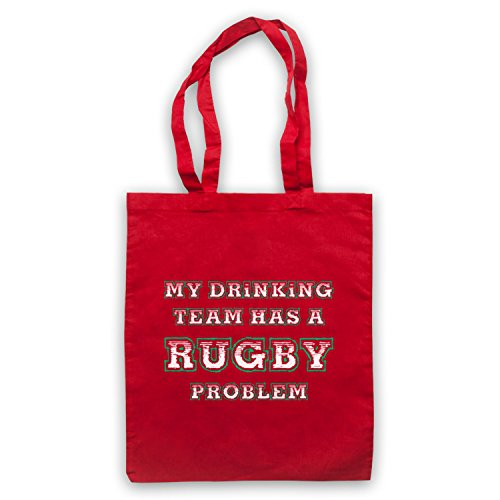 My Drinking Team Has A Rugby Problem Funny Rugby Slogan Umhangetaschen Rot