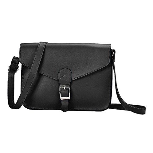 Sannysis® Imitación de las mujeres del bolso de cuero del hombro (Negro)