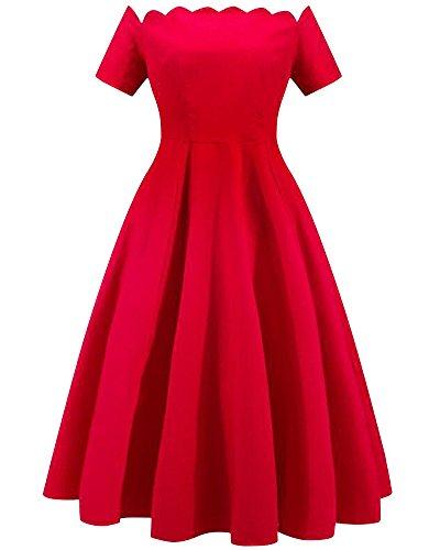 Damen Vintage Off Schulter Kleid Cocktailkleid Retro Faltenrock Partykleider Rot