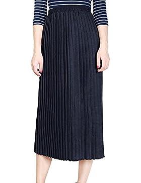 Mujer Falda Largo Retro Vintage Falda Plisada A-Lìnea Delgado Falda De Cintura Elástica Negro M