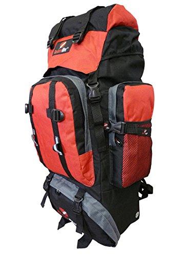 Roamlite 80 85 Liter Backpacker Rucksack - Festival Camping Rucksack - Rucksack Wanderrucksack – Trekking-Rucksack - Super Leichte 1,2 Kg - Viele Fächer - XL Extra Groß - RL15KG (Schwarz Rot) (Xxl Rucksack-schlafsack)