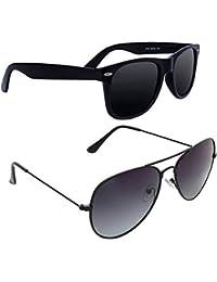 Xforia Polarized Fancy Wayfarer & Aviator Sunglasses For Men & Women Combo Of 2 (DX-FLX- 34 | Grey & Black | 54...