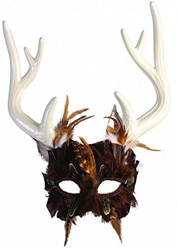 Maske Hirschgeweih mit Federn Wald Hirsch Vogel Gottheit Waldgott Naturgott (Hirschgeweih Kostüm)