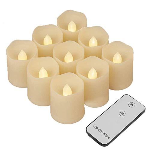 9 LED Teelichter mit Fernbedienung, 9er Led Kerzen Outdoor mit Flackernde Flamme, LED Echtwachs kerzen Set Teelichter Fernbedienung Flammenlos Atemlicht für Geburtstag und Hochzeit